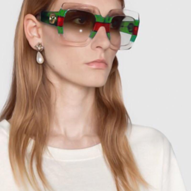 Modische Gestreifte Grüne PC Sonnenbrille