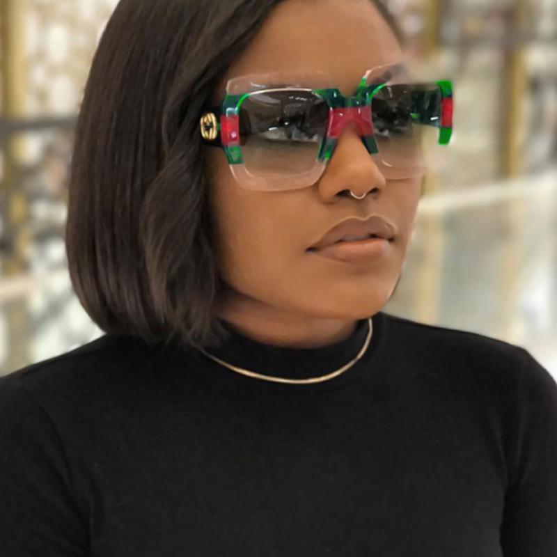 Gafas De Sol De Moda Con Rayas Verdes PC