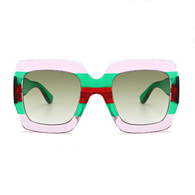 Fashionable Striped Green PC Sunglasses