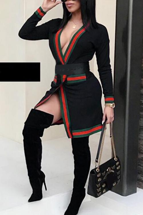 Abrigo Largo De Poliéster Negro Con Cuello En V Y Patchwork Impreso (prevalece El Tipo)