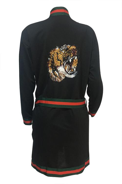Leisure V Neck Printed Patchwork Black Polyester Long Coat(Kind Prevail)