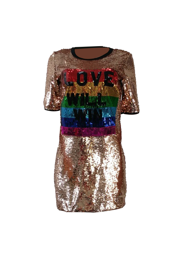 Casual Round Neck Short Sleeves Sequins Decoration Polyester Mini Dress