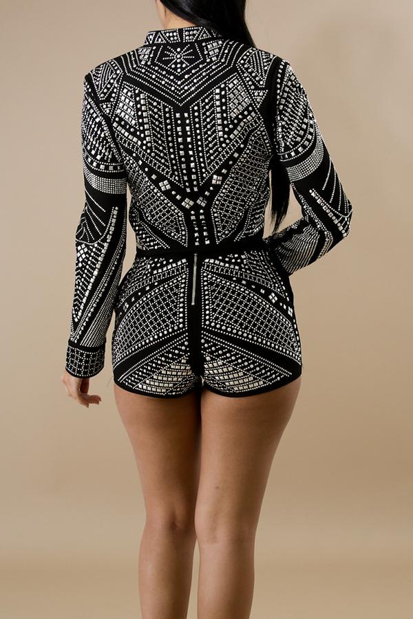 Sexy V Neck Diamante Decorative Black Qmilch Two-piece Shorts Set
