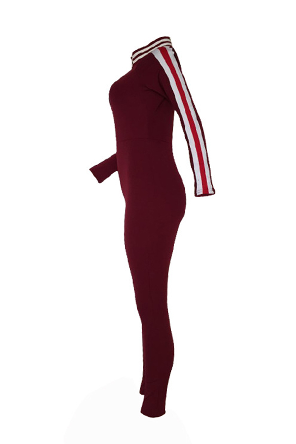 Sexy V Neck Zipper Design Striped Patchwork Wine Red Cotton Blends One-piece Jumpsuits