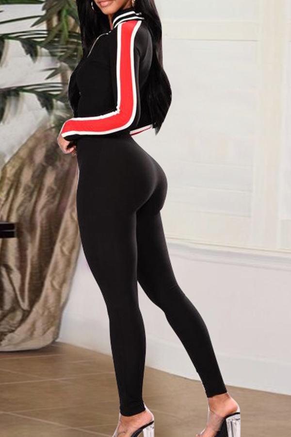 Sexy Patchwork A Rayas En V De Algodón Negro Combina Mono De Una Pieza