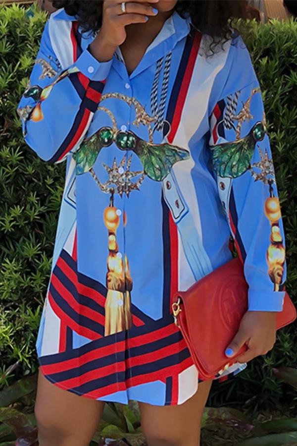 Euramerican Umlegekragen Gedruckt Blau Polyester Mini Shirt Kleid