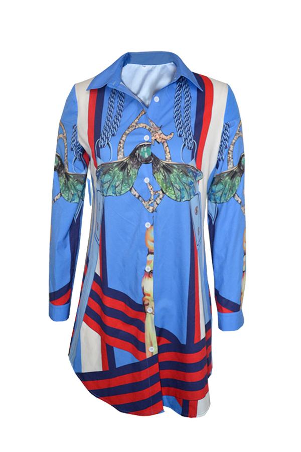 Euramerican Turndown Collar Imprimió La Mini Camisa Azul De Poliéster Vestido