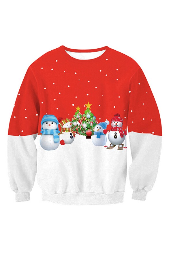 Casual Round Neck Christmas Printed Red-White Patchwork Polyester Hoodies<br>