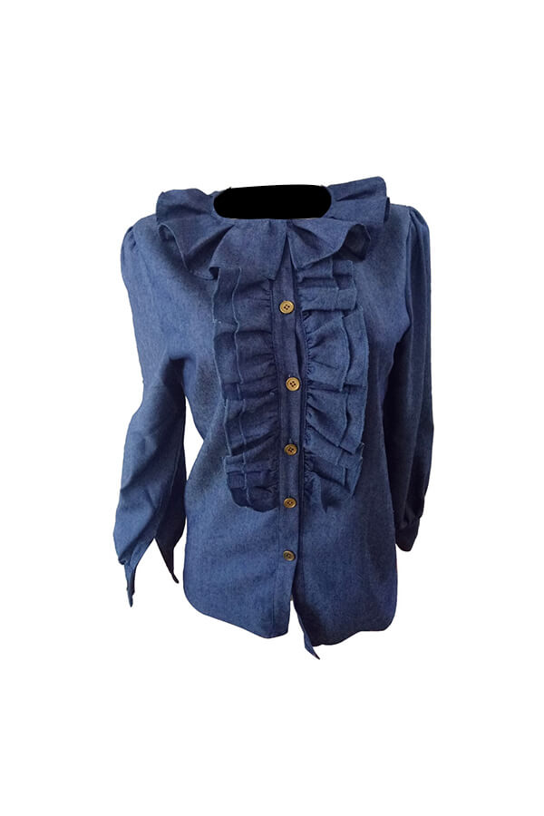 Elegante Cuello De Cobertura Mangas Linterna Volantes Diseño Camisas De Mezclilla Azul