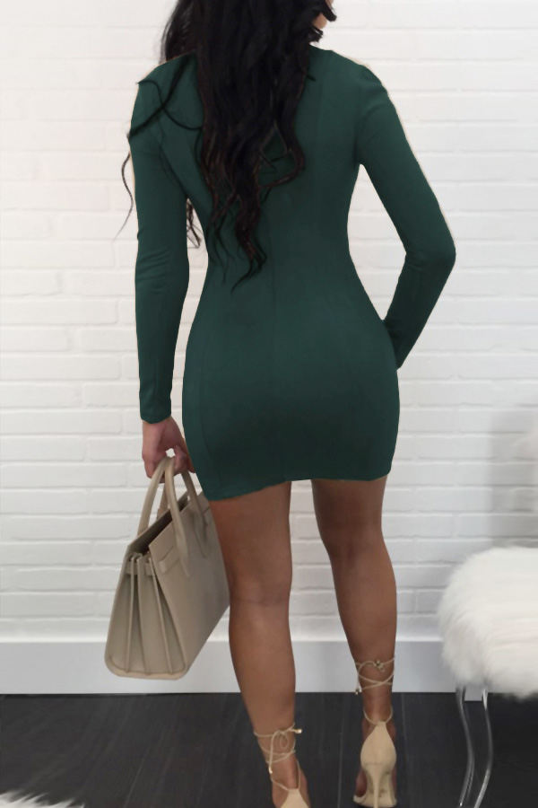 Sexy V Cuello Vendaje Diseño Mini Vestido De Poliéster Verde Oscuro