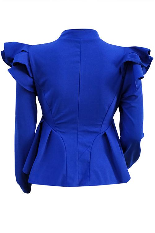 Fashionable V Neck Shrug Ruffle Patchwork Blue Polyester Zipped Coat