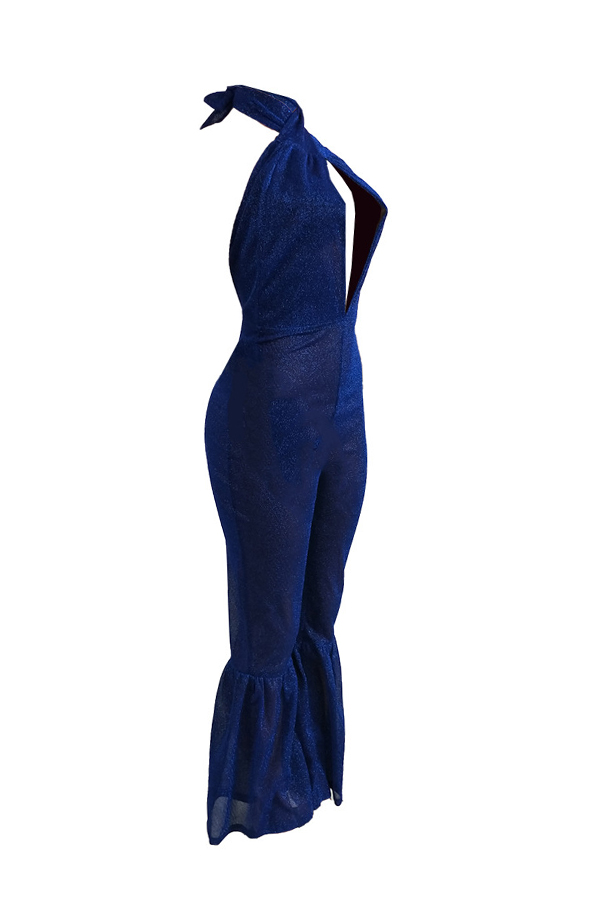 Sexy Halter Neck Backless Blue Polyester One-piece Jumpsuits