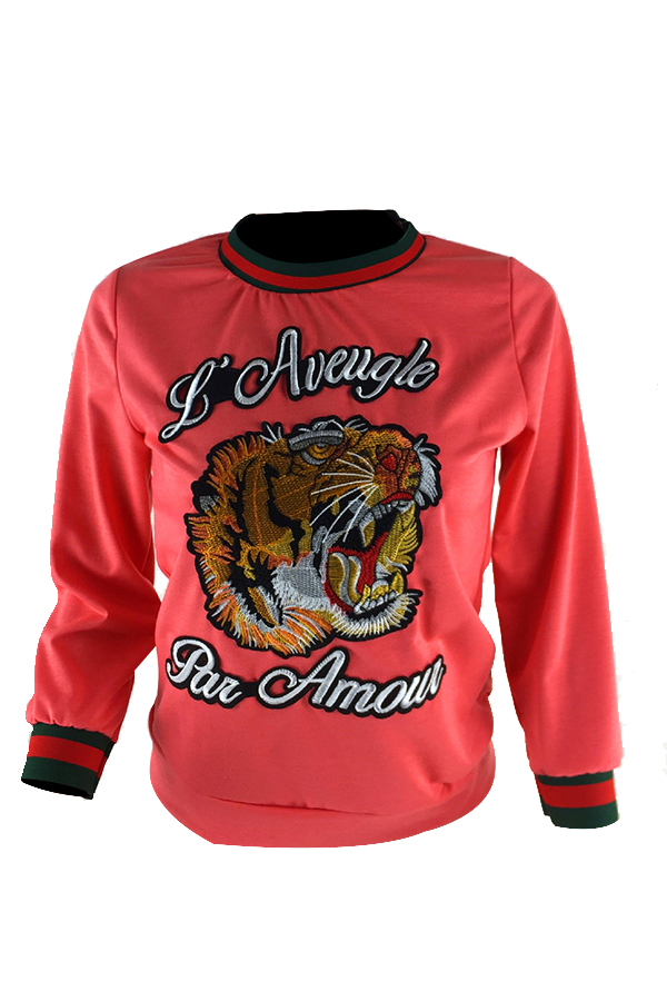 Casual round neck animal embroidered pink blending t shirt for Wildlife t shirts wholesale