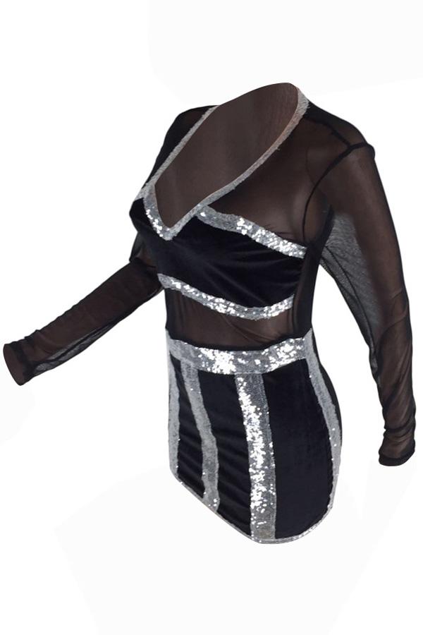 Sexy V-Ausschnitt Durchsichtiges Schwarzes Polyester-Minikleid