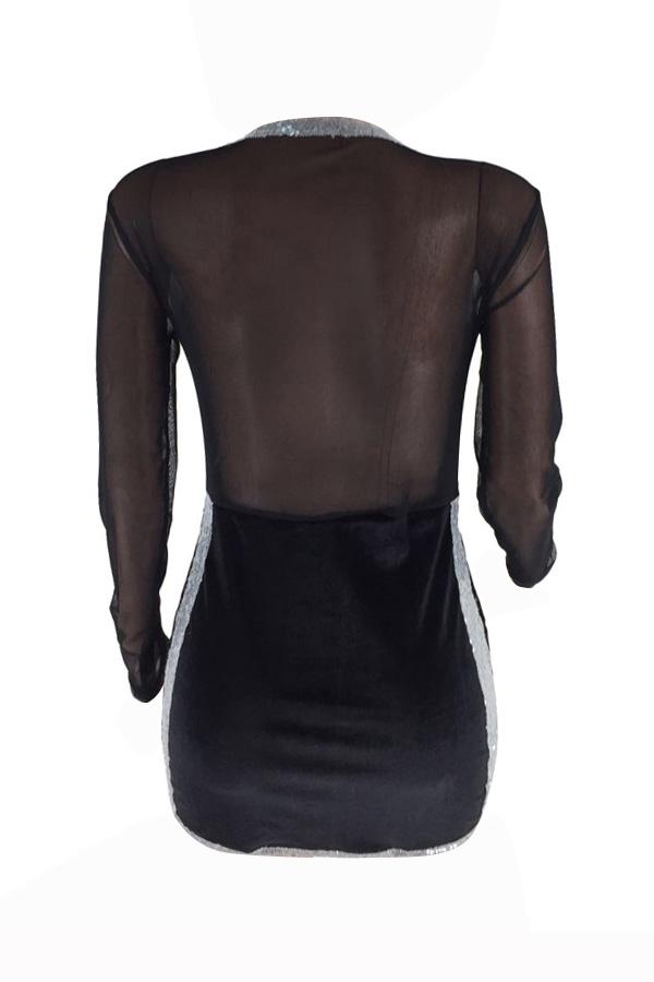 Vestido Mini Vestido De Poliéster Preto Transparente