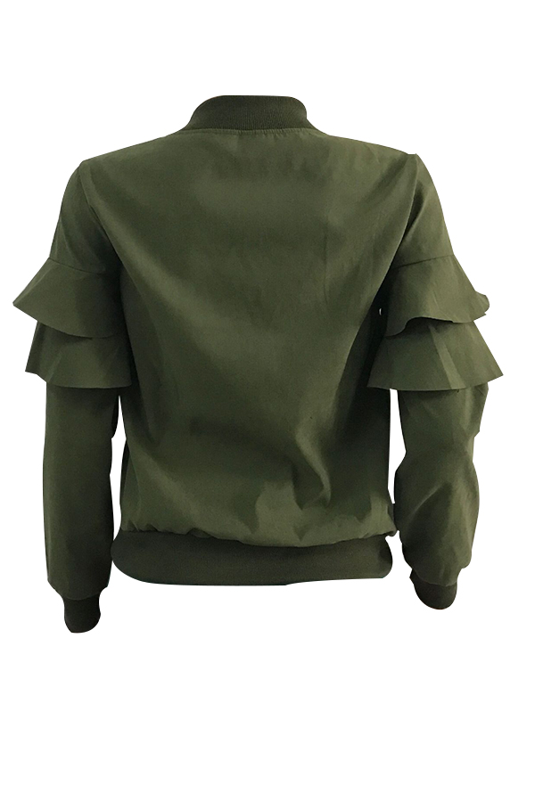 Leisure Round Neck Falbala Design Army Green Velvet Zipped Coat