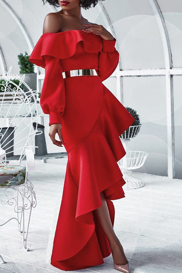 Sexy Bateau Neck Falbala Design Red Healthy Fabric Ankle Length Dress(Without Belt) Dresses <br><br>