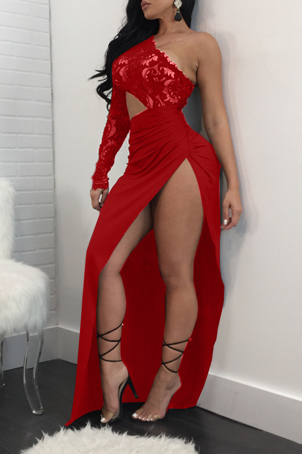 Sexy Dew Shoulder High Split Red Polyester Sheath Ankle Length Dress