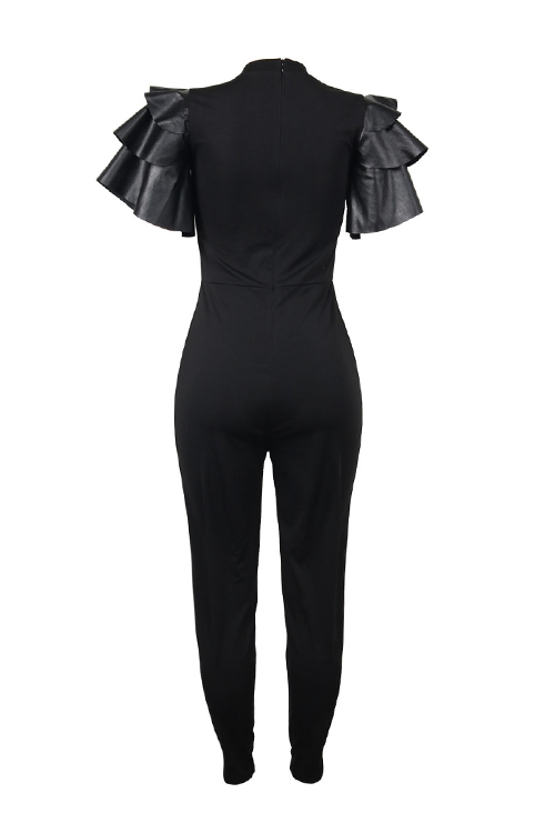 Stylish Round Neck Lotus Leaf Sleeves Lip Patchwork Black Polyester One-piece Jumpsuits