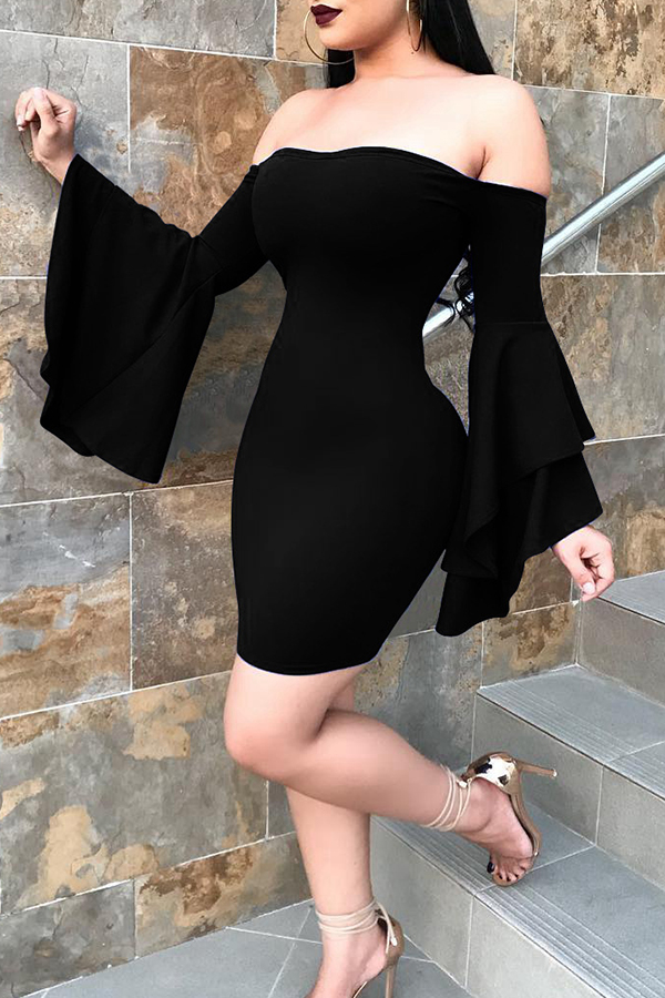 Sexy Bateau Neck Trumpet Sleeves Black Polyester Mini Dress Dresses <br><br>