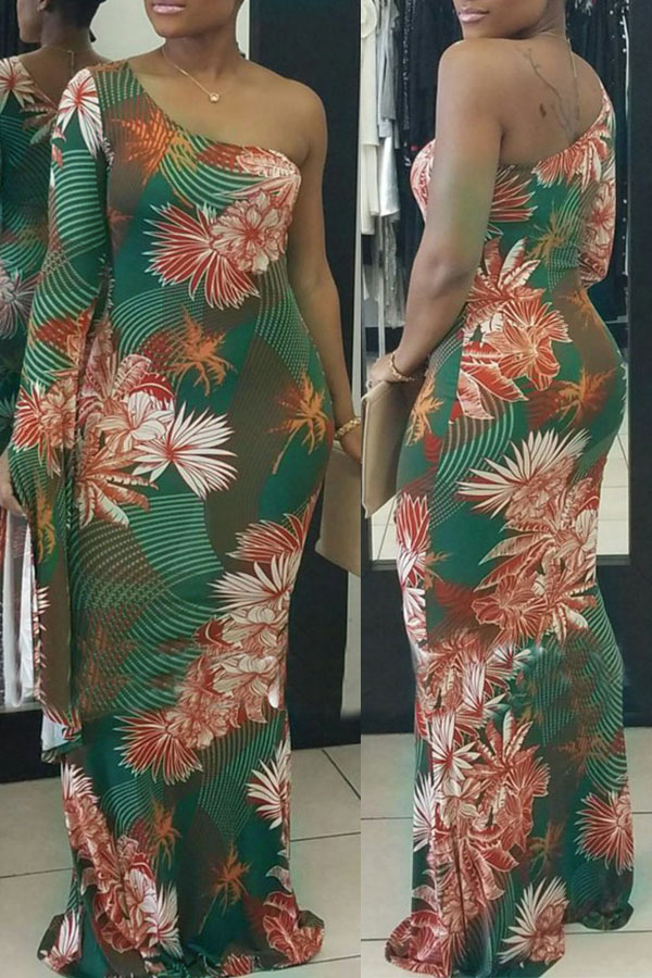 Sexy Show A Shoulder Floral Printed Healthy Fabric Ankle Length Dress(Non Positioning Printing)