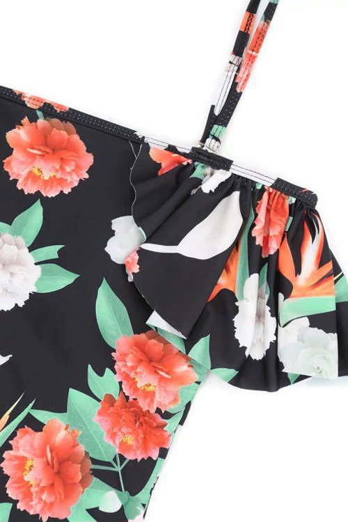 Sexy Floral Printed Black Polyester One-piece Swimwear