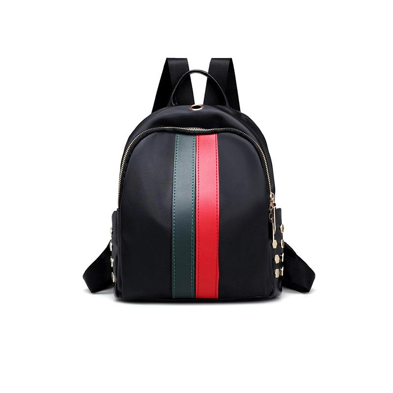Moda Zipper Design Listrados Verde PU Mochilas