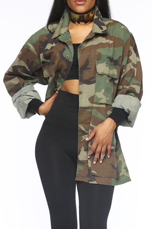 LovelyCasual Turndown Collar Single Breasted Camo Cotton Blends Coat(Without Belt)