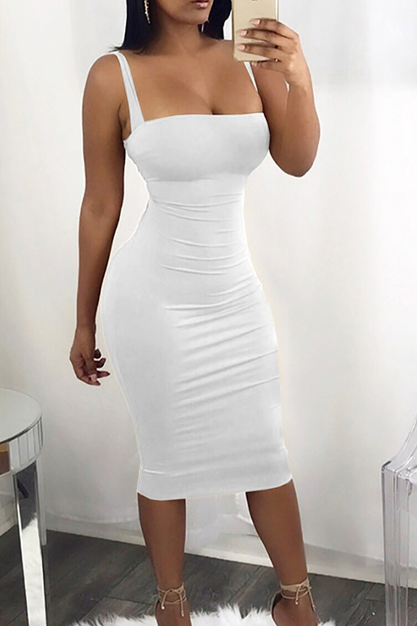 Sexy Square Neck Backless Lace-up White Polyester Mid Calf Dress