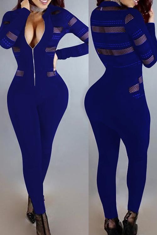 Sexy Gola Redonda Mangas Compridas Gaze Patchwork Macacão Azul Profundo De Uma Peça Macacões Magros