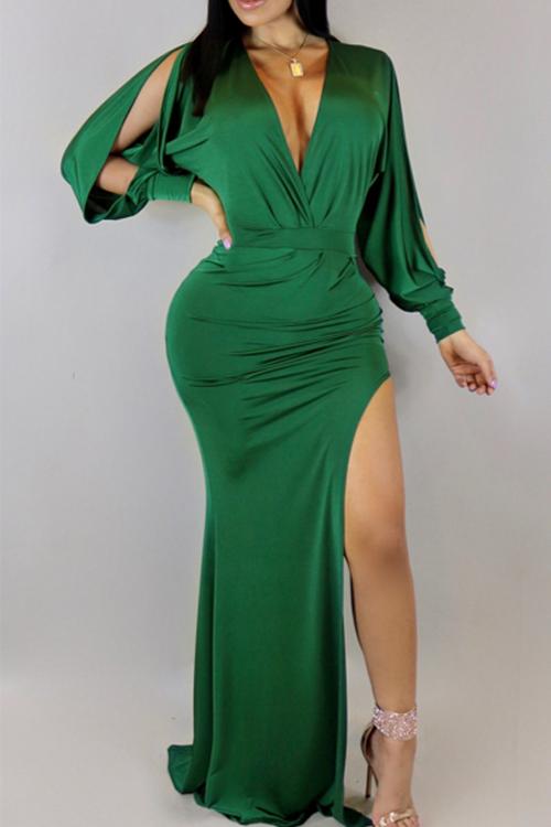 Vestido Largo De La Longitud Del Piso De La Fibra De La Leche Verde Del Remiendo Irregular Atractivo Del Cuello En V