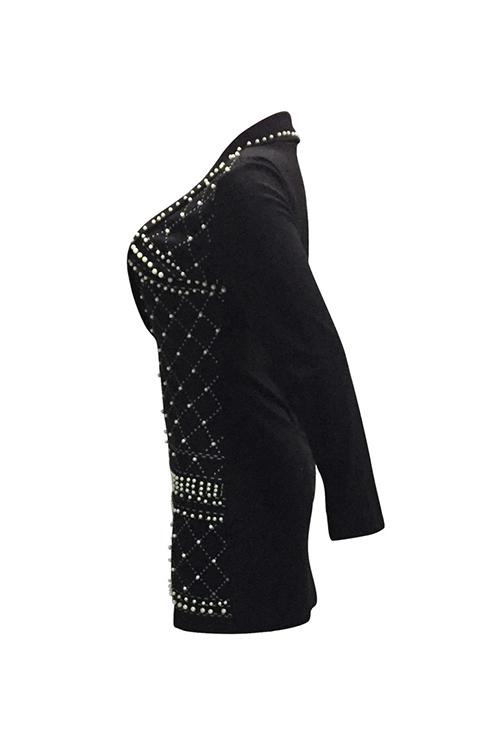 Sexy Turndown Collar Hot Silver Design Pearl Trim Black Polyester Mini Dress