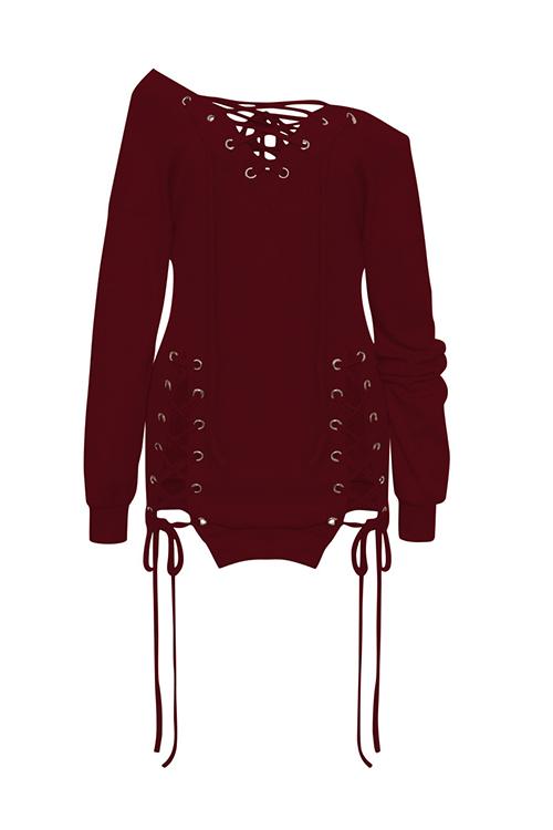 Diseño De Ojeteador Con Cuello En V Sexy Mini Vestido De Poliéster Rojo Vino Con Cordones
