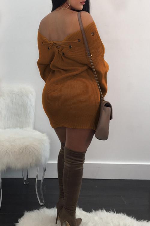 Olhais Pesados para Pescoço V Projetam Mini Vestido De Poliéster Amarelo Com Renda
