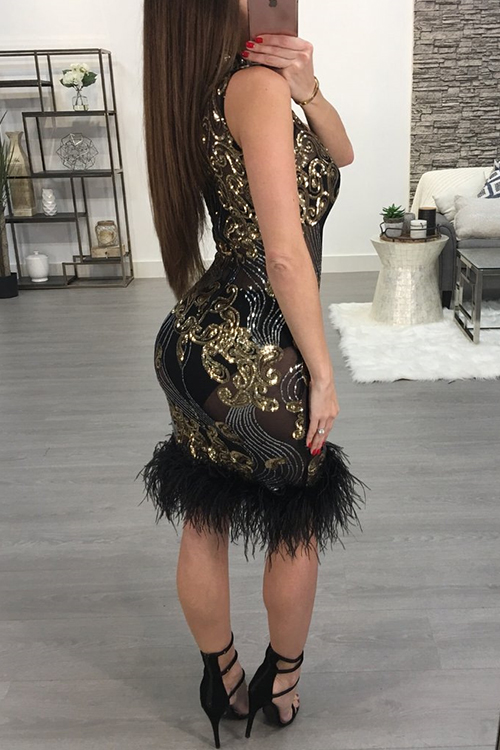 Sexy Mandarin Collar See-Through Sequins Decoration Maomao Hem Black Polyester Mini Dress(Without Subcoating)