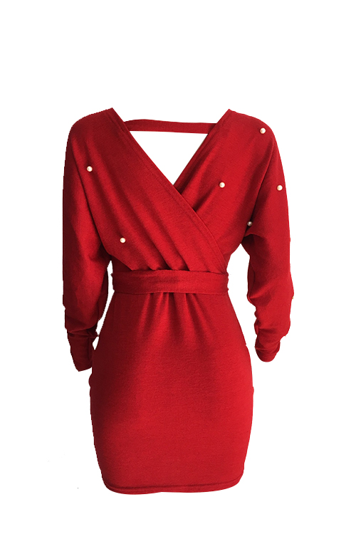 Sexy V Neck Backless Pearl Decoration Red Polyester Mini Bodycon Dress(With Belt)