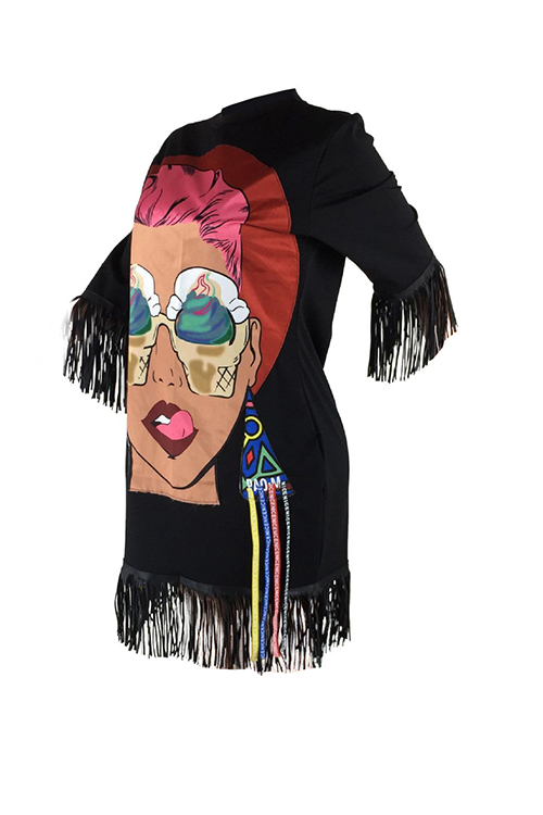 Casual Round Neck Cartoon Characters Printed Tassel Fringed Black Cotton Blend Mini Dress