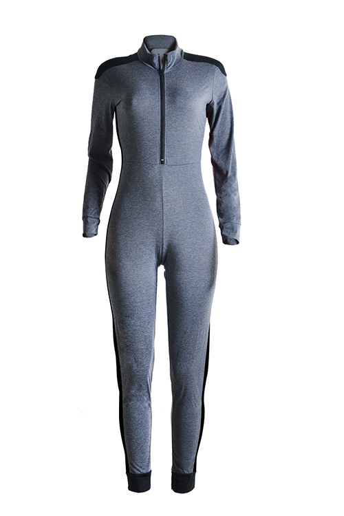 Casual Mandarin Collar Patchwork Grey Blending One-piece Jumpsuits