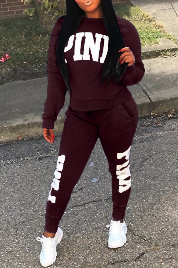 Casual Round Neck Letters Printed Wine Red Polyester Two-Piece Pants Set