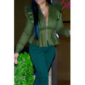 Fashionable V Neck Shrug Ruffle Patchwork Green Polyester Zipped Coat