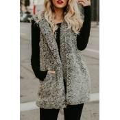 Lovely Casual Hooded Collar Pocket Design Grey Vel