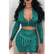 Diseño De Lentejuelas Collar De Mandarina Sexy Falda De Dos Piezas De Poliéster Verde