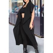 Euramerican Turndown Collar Irregular Design Black Polyester Long Waistcoats