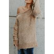 Lovely Casual Round Neck Long Sleeves Khaki Knitti