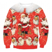 Euramerican Round Neck Father Christmas Print Red