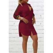 Fashionable Turndown Collar Striped Wine Red Polye