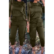 Casual Round Neck Ruffle Design Army Green Blending Two-piece Pants Set