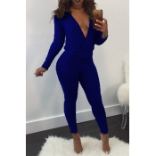 Sexy Deep V Neck Back Hollow-out Blue Polyester One-piece Jumpsuits