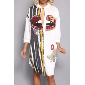 Casual Round Neck Printed Sequins Decoration White Polyester Mid Calf Dress