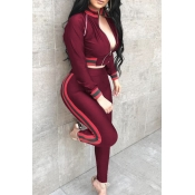 Casual Mandarin Collar Patchwork Wine Red Knitting Two-Piece Pants Set